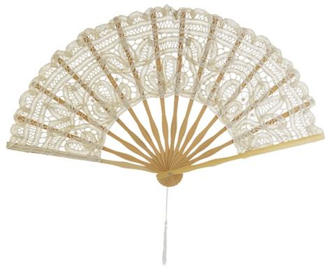Handmade Fans For Weddings - 11 quot beige ivory folding lace fan for