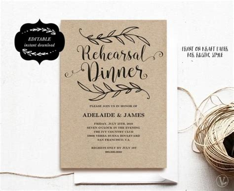 Printable Rehearsal Dinner Invitation Card Template Kraft Rehearsal Dinner Card Instant Rehearsal Dinner Menu Template