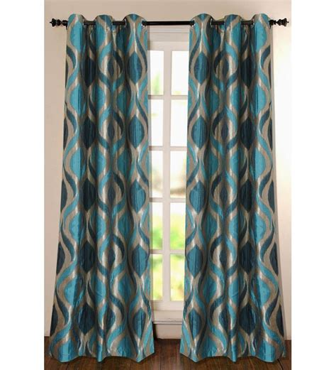 Curtains With Turquoise Deco Essential Turquoise And Silver 5ft Window Curtain By Deco Essential Abstract