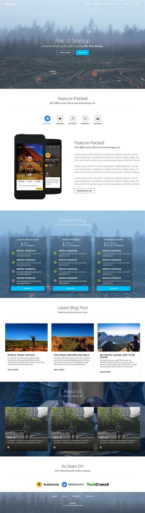 bootstrap themes flat ui flat ui startup bootstrap theme by pete r the pete design
