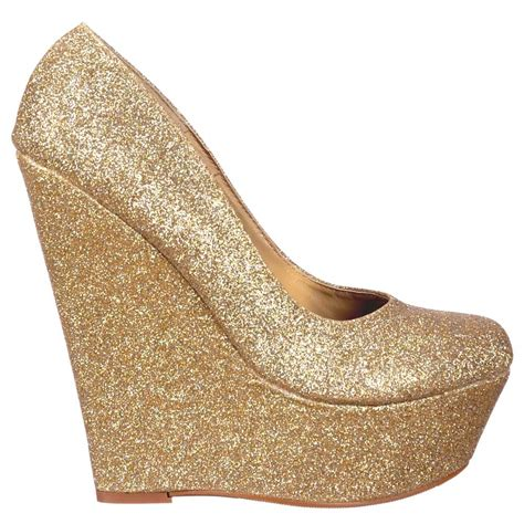 onlineshoe gold glitter wedge platform shoes gold