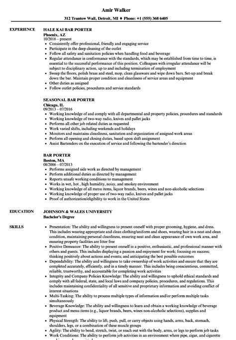 bar porter resume sles velvet