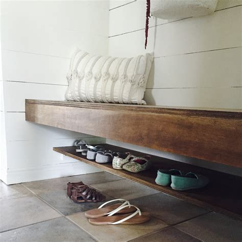 build a floating bench and shoe shelf the schmidt home
