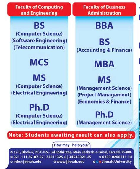 Mba Ms Computer Science by Mohammad Ali Jinnah Admission 2017 Test Result