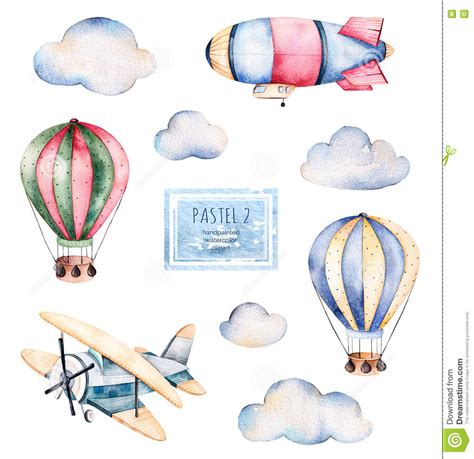 watercolor pattern with air balloons and clouds stock watercolor collection with air balloons clouds airship