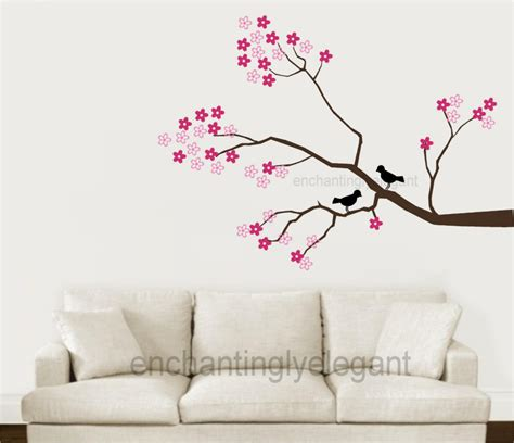 Cherry Blossom Tree Wall Decor by Tree Branch Cherry Blossoms Birds Vinyl Wall Decor Decal