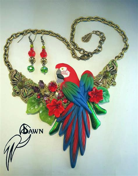 Macaw 01 Necklace macaw parrot necklace earrings bird jewelry by