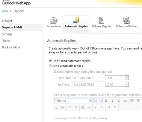 Office Mail Automatic Replies Out Of Office