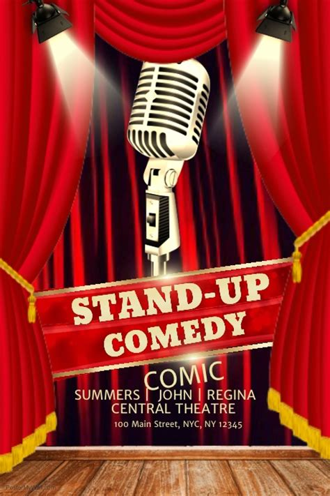 comedy poster template stand up comedy poster template postermywall