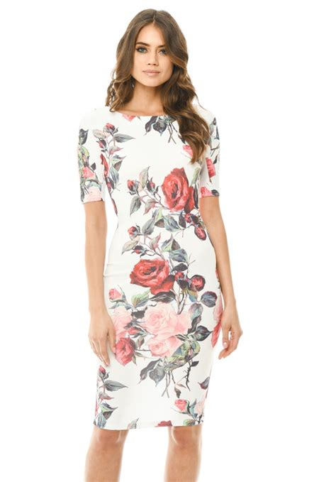 Patterned Sleeve Midi Dress s floral midi bodycon sleeve dress ax