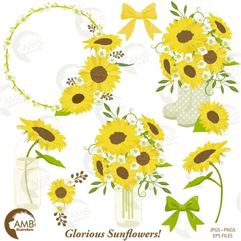 sunflower clipart wedding clipart shabby chic