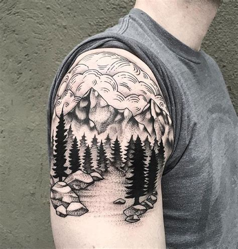 tree and mountain tattoo mountains trees tatting and