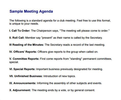agenda for a meeting template business meeting agenda template 5 free