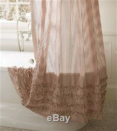 red ticking shower curtain nwt pottery barn red ticking stripe ruffled shower curtain