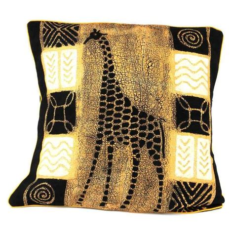 handmade giraffe design batik cushion cover zimbabwe