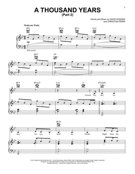 piano tutorial of a thousand years download a thousand years part 2 sheet music by david