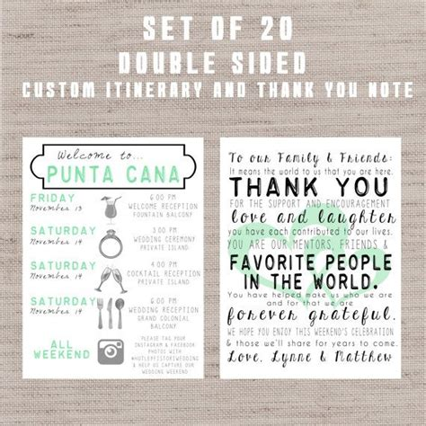 Set Of 20 Destination Wedding Welcome Bag Letters And Guest Itinerary Timeline Of Events Destination Wedding Itinerary Template