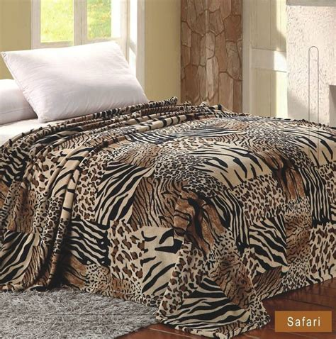 Safari Animal Print Blanket Feel Warm Soft Twin Throw Safari Bedding