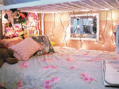 girly bed with pretty lights pink interiors pinterest bedroom floral girly houses interior image 286291