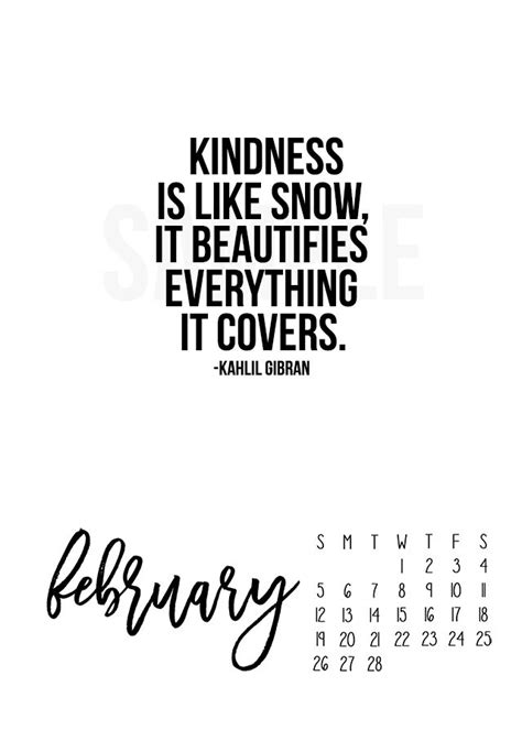 printable kindness quotes 2017 february calendar kindness is like snow