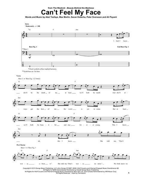 Can't Feel My Face Sheet Music | The Weeknd | Bass Guitar Tab