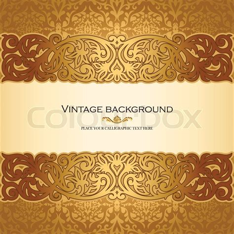 retro pattern card background vector graphic vintage background antique victorian golden ornament