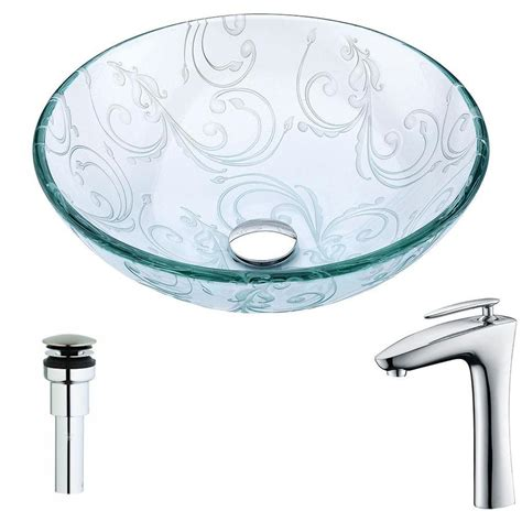 Clear Bathroom Sink Drain by Shop Anzzi Vieno Series Clear Floral Tempered Glass Vessel Bathroom Sink With Faucet