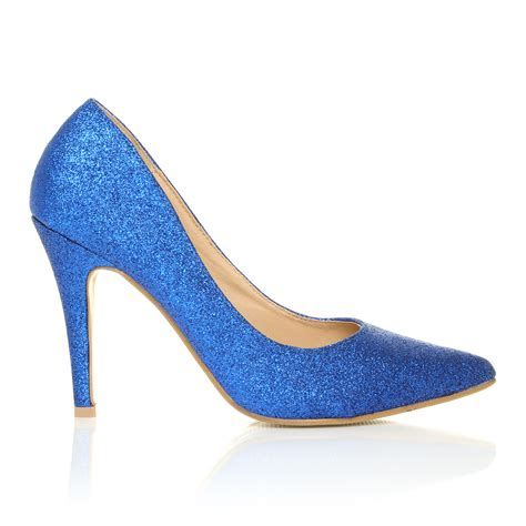 darcy blue glitter stiletto high heel pointed court shoes