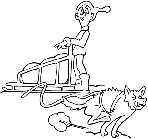 coloring pages of dog sledding sled dogs colouring pages