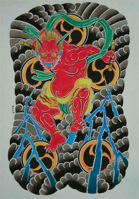 oriental god tattoo pin japanese god irezumi tattoo flash demon oni picture to