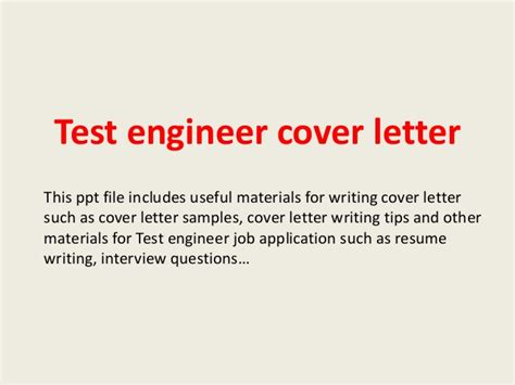 Test Analyst Cover Letter by Test Engineer Cover Letter