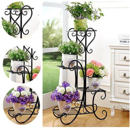 tier black stainless steel plant stand flower planter