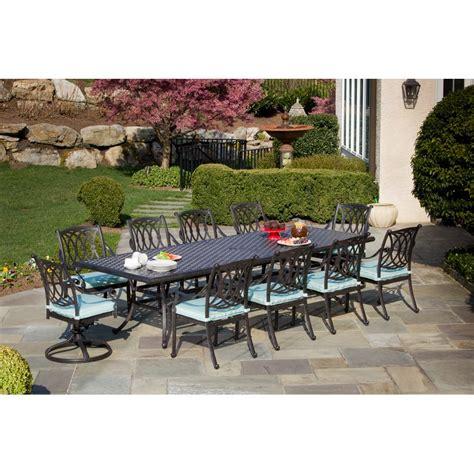 10 seat outdoor dining set alfresco home rimini cast aluminum 120 in rectangular patio dining set seats 10 patio