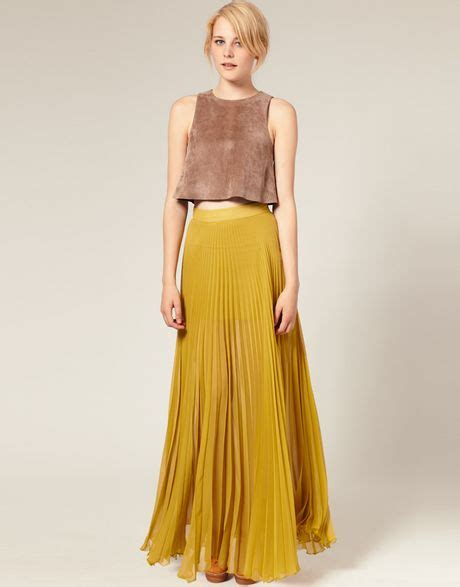 asos collection asos pleated maxi skirt in yellow olive