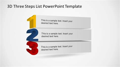 3d Three Steps List Powerpoint Template Slidemodel Listing Presentation Template Free