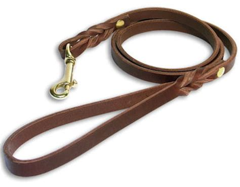 Handmade Leather Leads - custom leather leash for doberman with brass hook