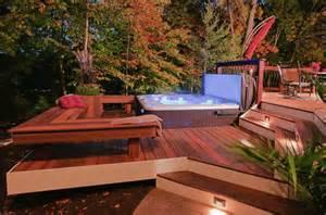backyard deck designs with tub pool design ideas