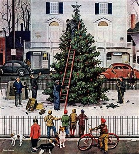 norman rockwell tree in town square christmas paint by