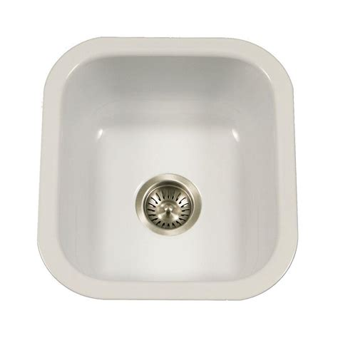 Porcelain Kitchen Sink Undermount Houzer Porcela Series Undermount Porcelain Enamel Steel 16 In Single Bowl Kitchen Sink In White