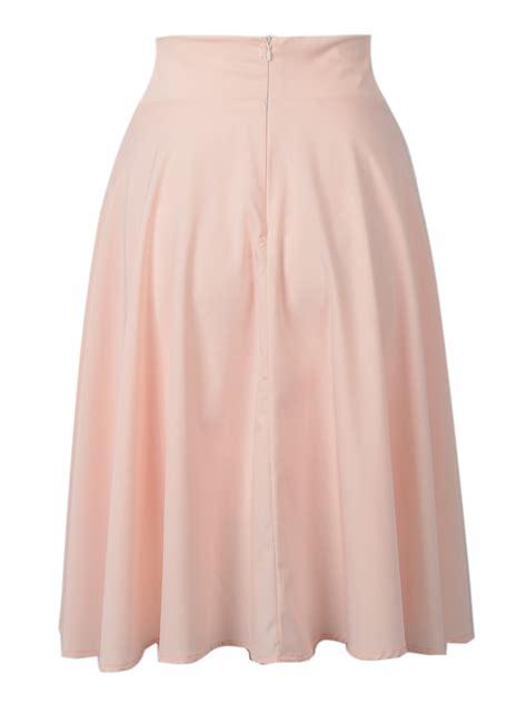 pink high waist midi skater skirt choies