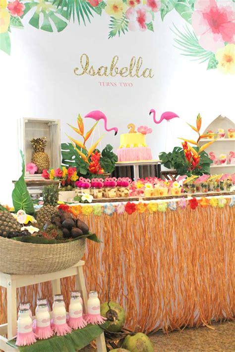 hawaiian theme decorations dessert table from a tropical hawaiian flamingo via