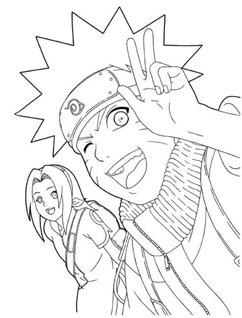naruto and sakura smile coloring pages colorpages