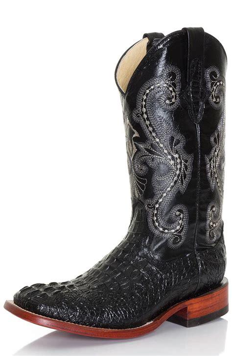 black cowboy boots ferrini mens 12 quot caiman print square toe croc cowboy boots