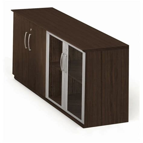Low Storage Cabinet With Doors Mayline Medina Low Wall Cabinet With Doors Wood Glass Door In Mocha Mvlcldc