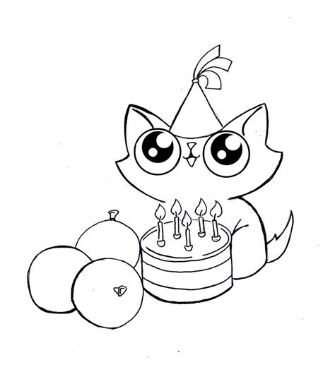 happy birthday cat coloring page funny cat birthday line art 2 by kingzoidlord on deviantart