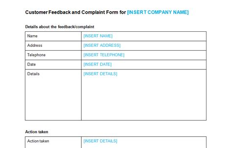 complaint forms template customer complaint form template bizorb