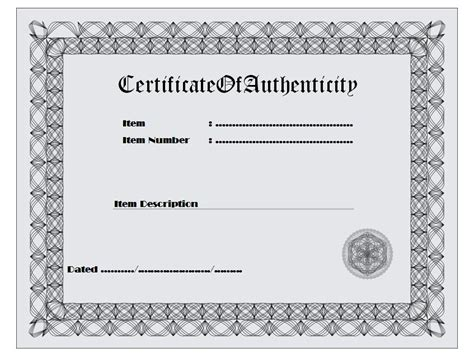 free printable certificate of authenticity templates certificate of authenticity template 1 the best template