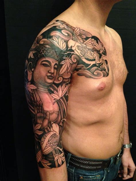 sleeve tattoo designs for guys buddha sleeve bw ideas buddha and