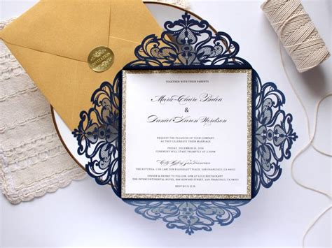 Wedding Invitations Navy And Gold by 25 X Navy And Gold Wedding Invitation Gold Glitter