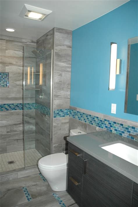 master bath blue glass mosaic accent tile